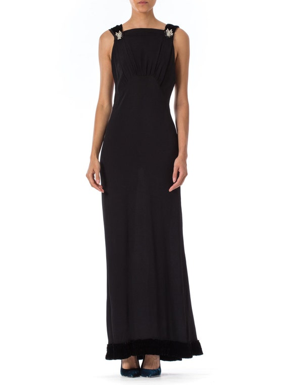 1930S Rayon Crepe & Velvet Gown Straight Cut With