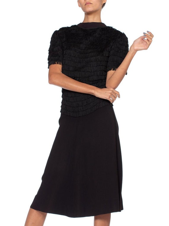 1940S Black Rayon & Silk Crepe Zipper Front Fring… - image 3