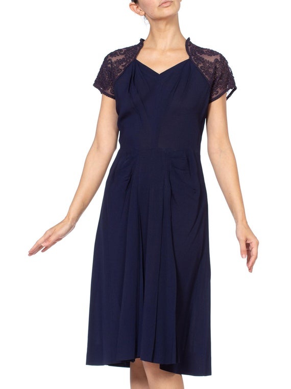 1940'S Navy Blue Rayon Crepe Dress With Embroidere