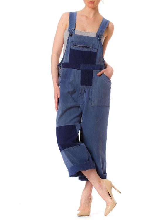 1940S Denim Men's Patchwork French Workwear Overa… - image 4