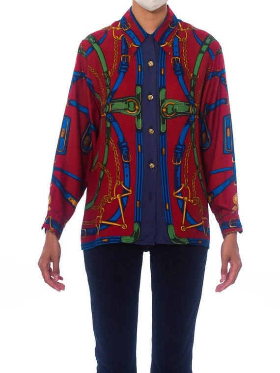 1980S Red Status Print Silk Equestrian Blouse Made
