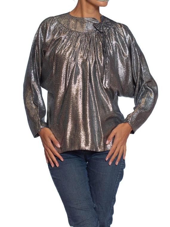1970'S Silver Lamé Lurex Disco Blouse With Bow