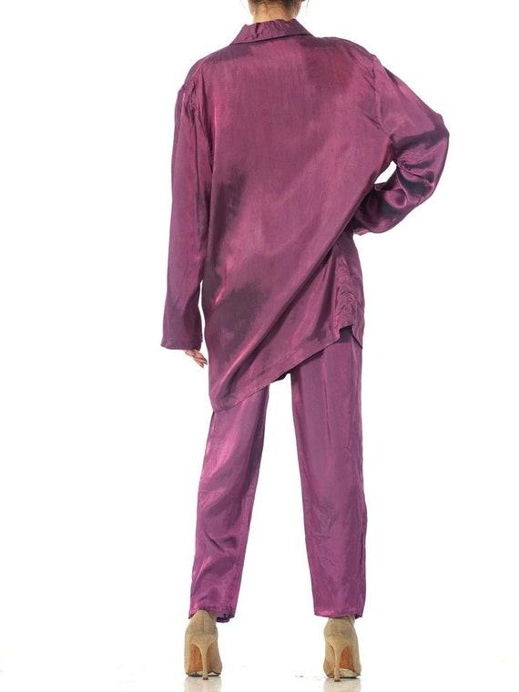 1980S Purple Acetate Taffeta Oversized Blazer Pan… - image 8