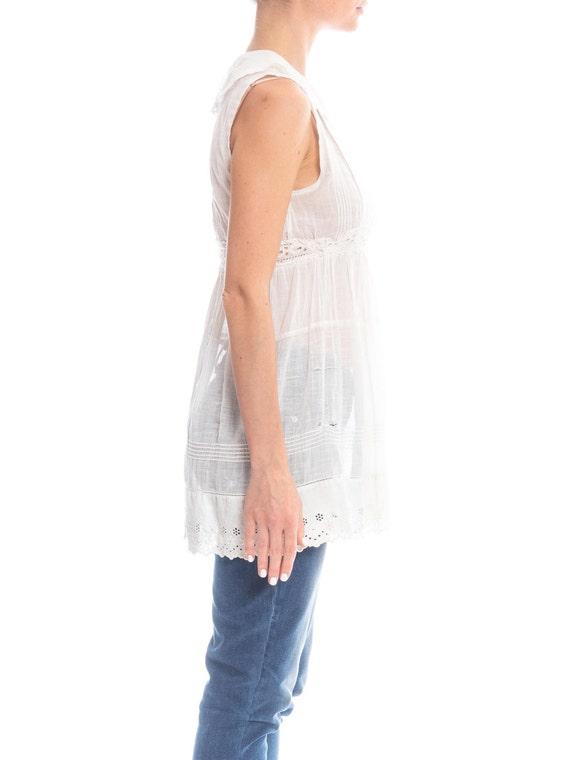 Edwardian White Cotton Eyelet Lace Babydoll Tunic… - image 3