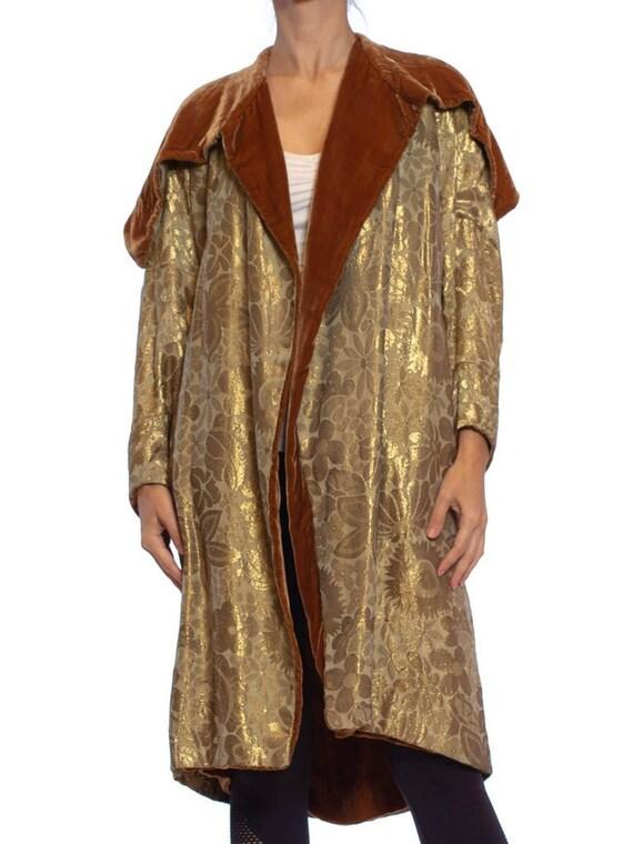 1920S Art Deco Silk Lamé Cocoon Coat Lined In Velv