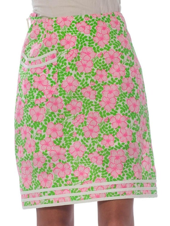 1960S Lilly Pulitzer Pink  & Green Cotton Floral M