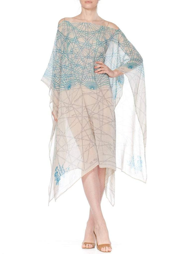 Vintage Scarf Styles -1920s to 1960s Morphew Collection Baby Blue Geometric Silk Chiffon Kaftan With Scarf Belt $588.00 AT vintagedancer.com