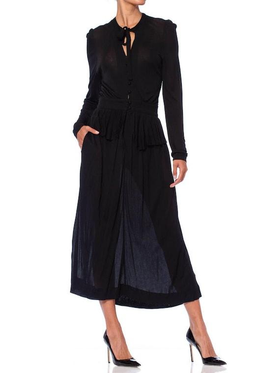 1970S Jaeger Black Rayon Jersey Ossie Clark Style