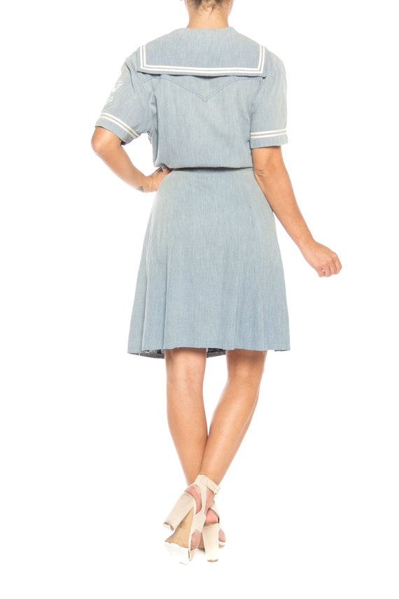 1930S Organic Cotton Chambray  Sailor Day Dress - image 5