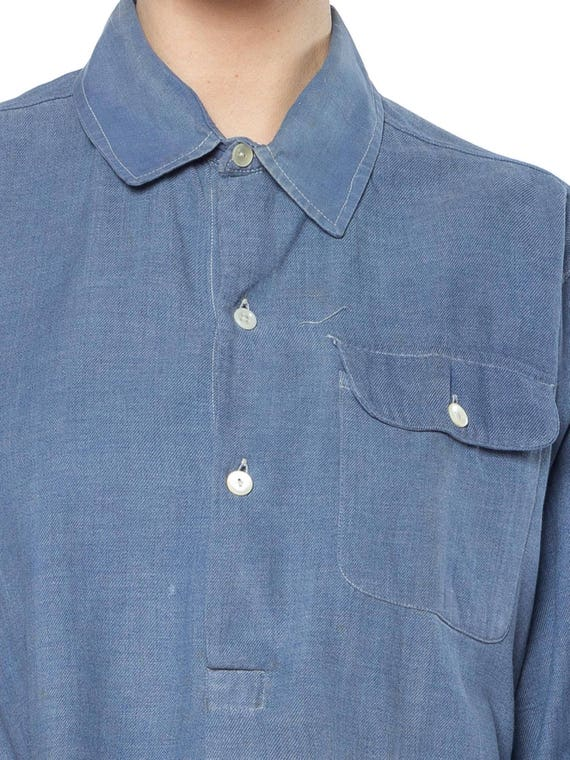 1940S Cotton Men's French Workwear Popover Shirt - image 5