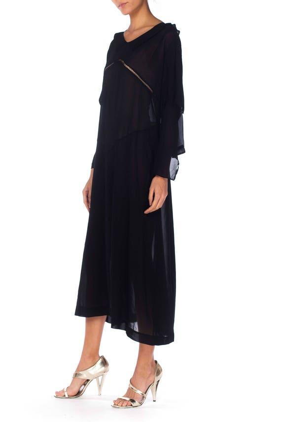 1920S Black Silk Chiffon Long Sleeve Day Dress Wi… - image 4