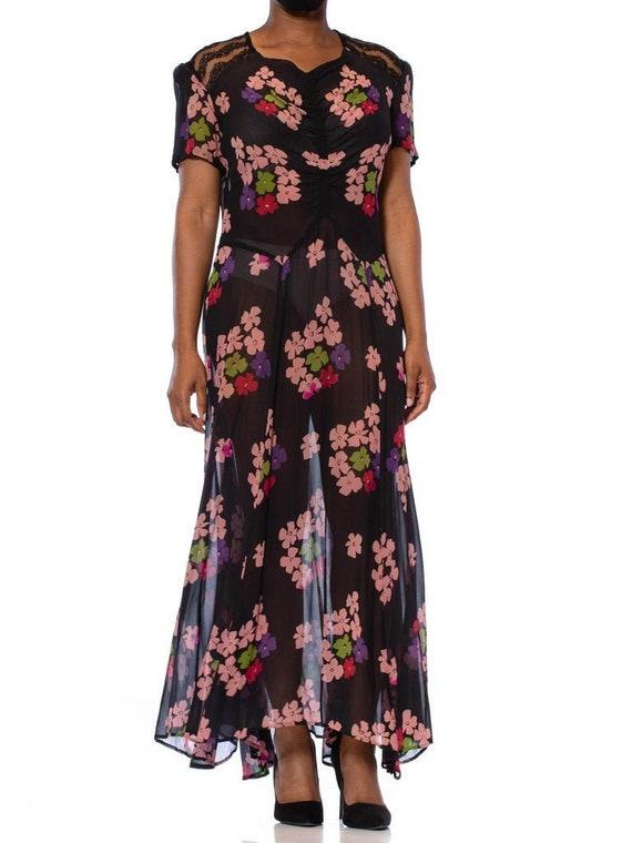 1930S Black Silk Chiffon Pink Floral Dress With L… - image 1