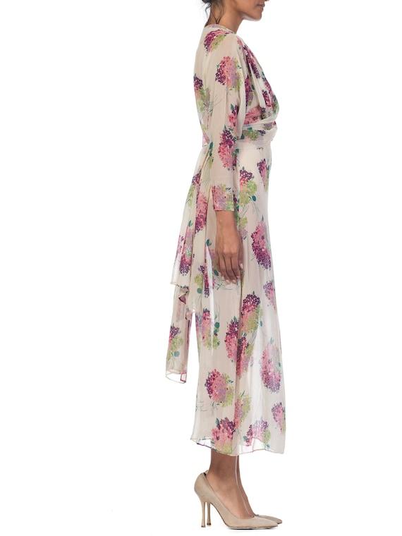 Sheer-silk 1920s Floral Chiffon Dress Size: S - image 4