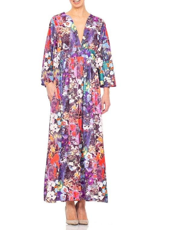 1970s Floral Polyester Jersey Kaftan