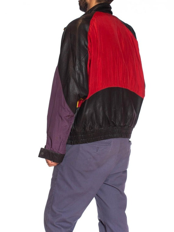1990S Black Leather Men's Bomber Jacket With Yell… - image 10