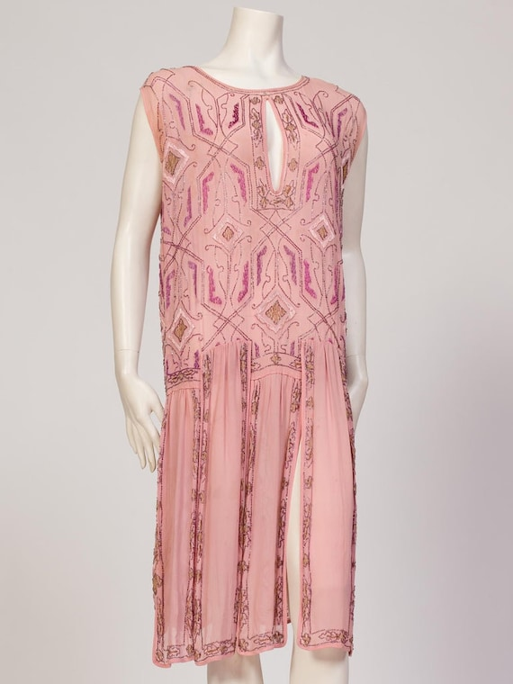 1920S Hand Embroidered & Beaded Sheer Pink Flapper