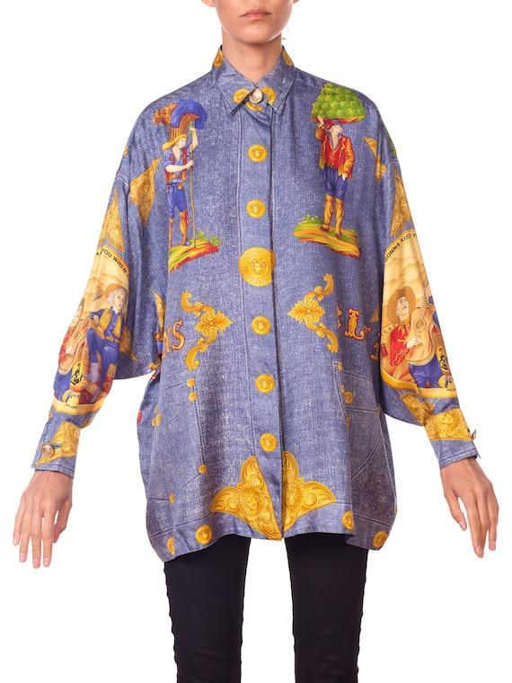 1990S GIANNI VERSACE Men's Silk Blue Jeans Denim P