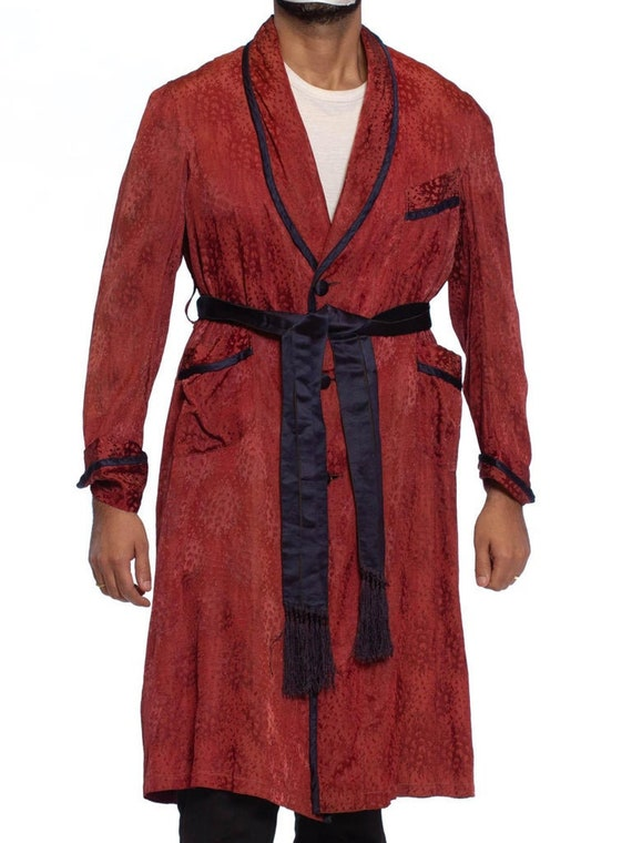 1920S Maroon Silk Jaquard Antique Mens Robe