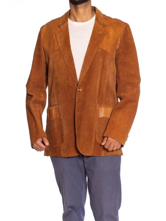 1970S Caramel Brown Suede Western Styled Men's Lea