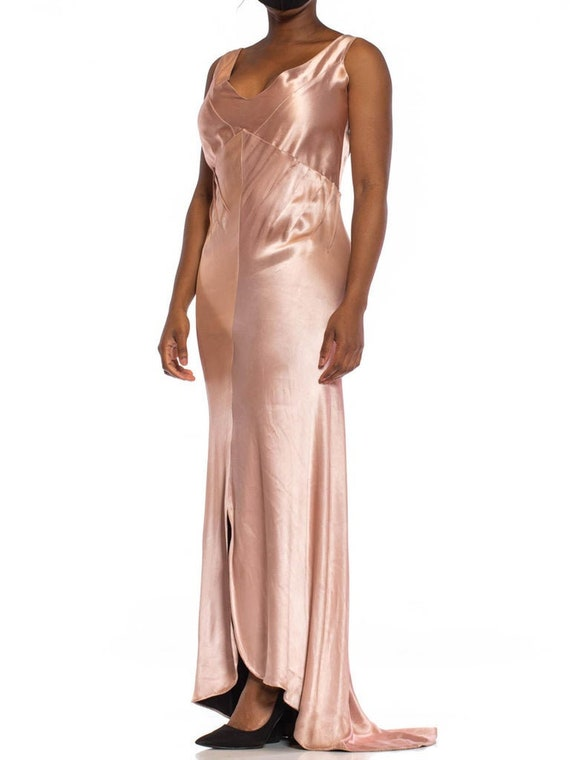 1930S Pink Bias Cut Silk Double Faced Satin Gown W