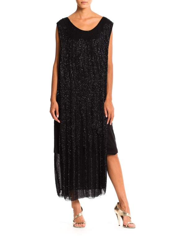 1920'S  Black Silk Fully Beaded Tabard Dress