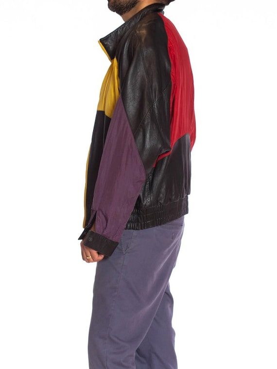 1990S Black Leather Men's Bomber Jacket With Yell… - image 2