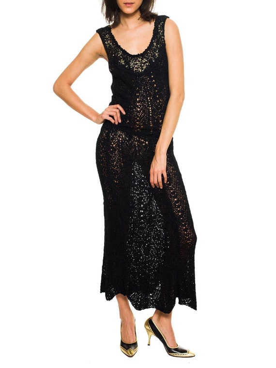 1930S Black Silk Hand Knit Dress With Hand-Painted