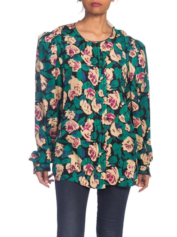 1980S EMANUEL UNGARO Style Silk  Floral Blouse