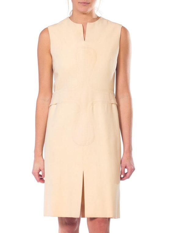1960S PIERRE CARDIN Cream Wool Mod Dress