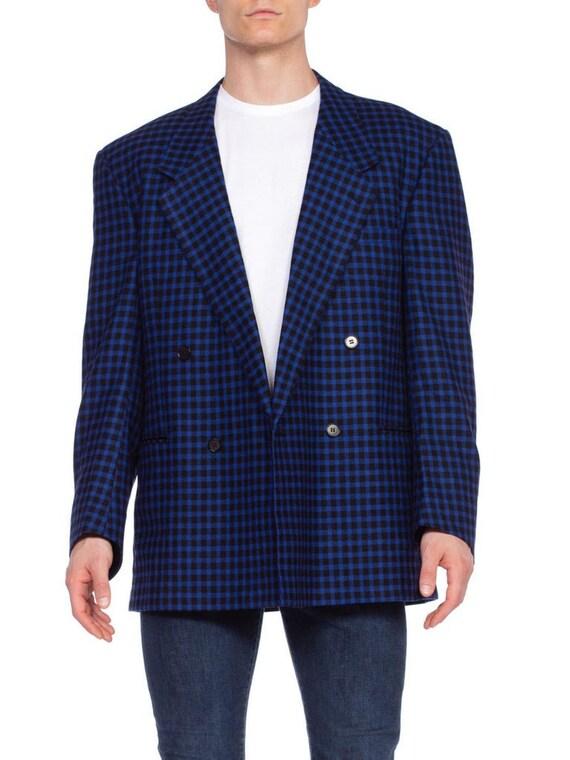 Mens Versace Blue Plaid Wool & Cashmere Size 42 19