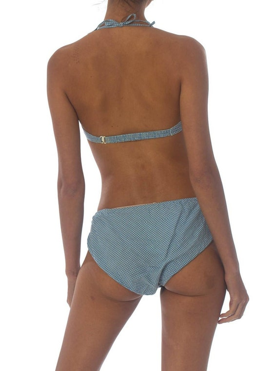 1940S Cotton Underwire Blue Gingham Pin-Up Bikini… - image 5