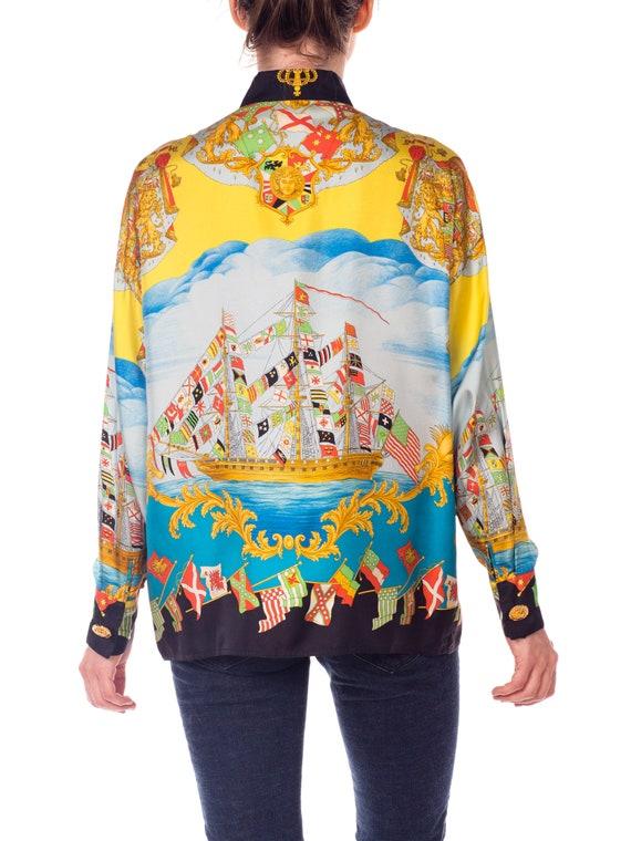 1990s-ad Campaign Gianni Gianni Campaign Versace Nautical Print Silk Shirt Size: XL 7394f6