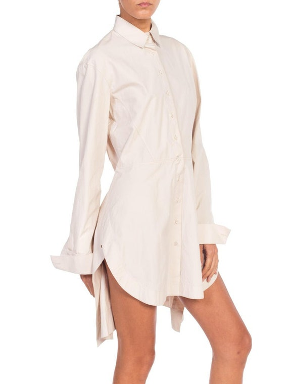 1990S AZZEDINE ALAIA Ecru Cotton Shirt Dress - image 7