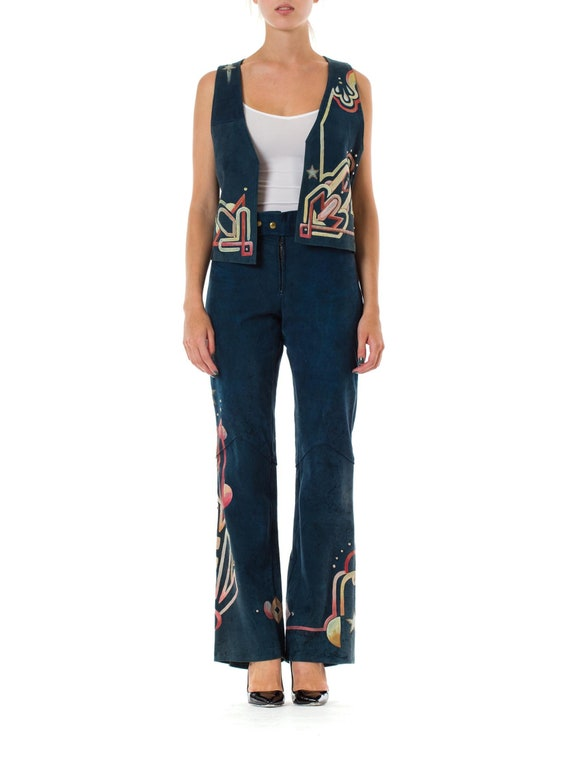 1970S Blue Hand Painted Suede Glam Rock Star Pants