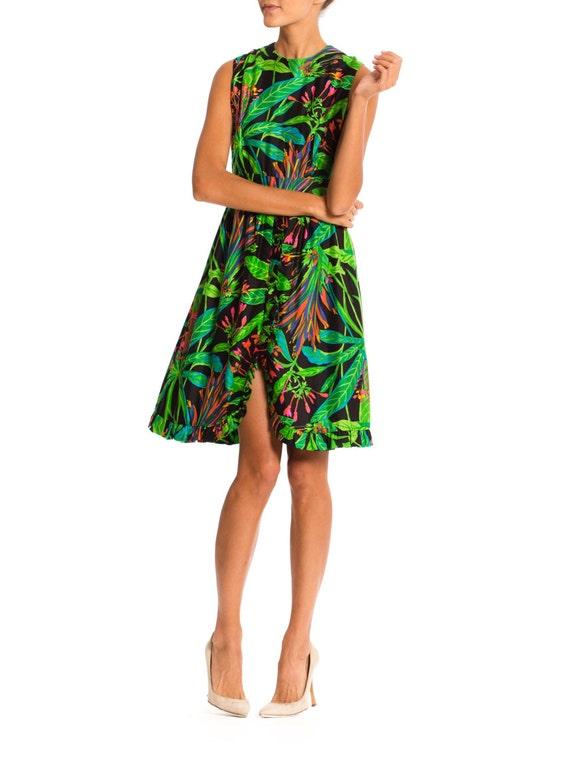 Vintage 1960s Tropical Print Dress Size: XS