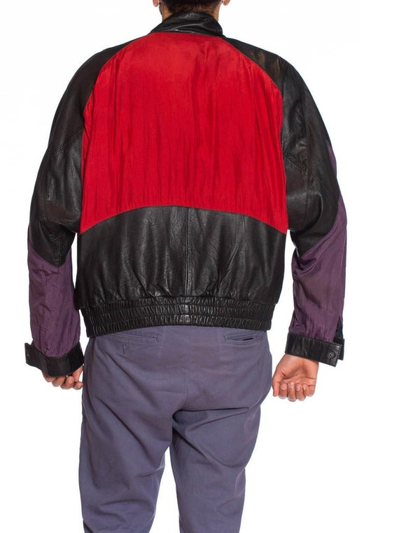 1990S Black Leather Men's Bomber Jacket With Yell… - image 9