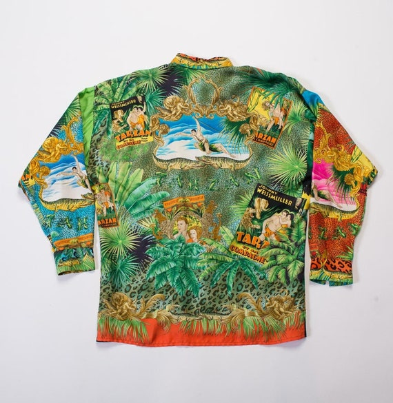 1990S Gianni Versace Tropical Silk Leopard Tarzan