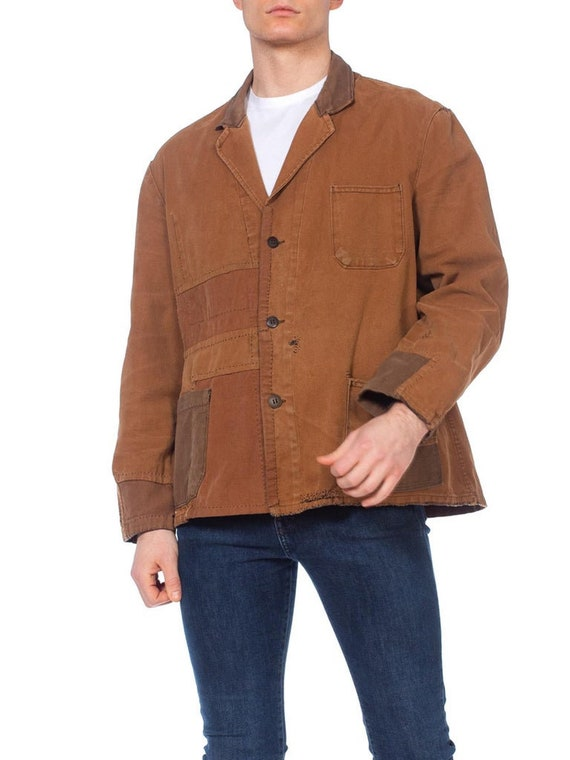 1940S Brown Patchwork Cotton Men's French Workwea… - image 5
