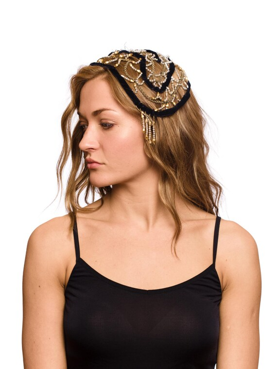 1920S Black & Gold Silk Velvet Ribbon Pearls Headp