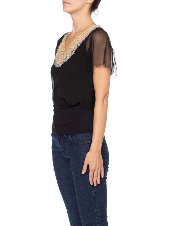 1920s Silk Chiffon and Lace Beaded Top - image 6
