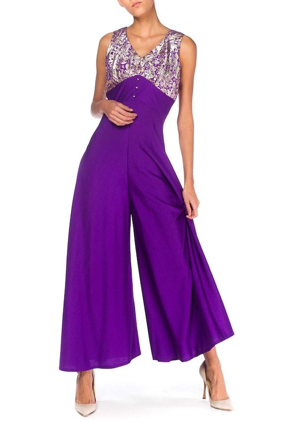 1960S Purple Polyester Jersey Palazzo Pant Jumpsui