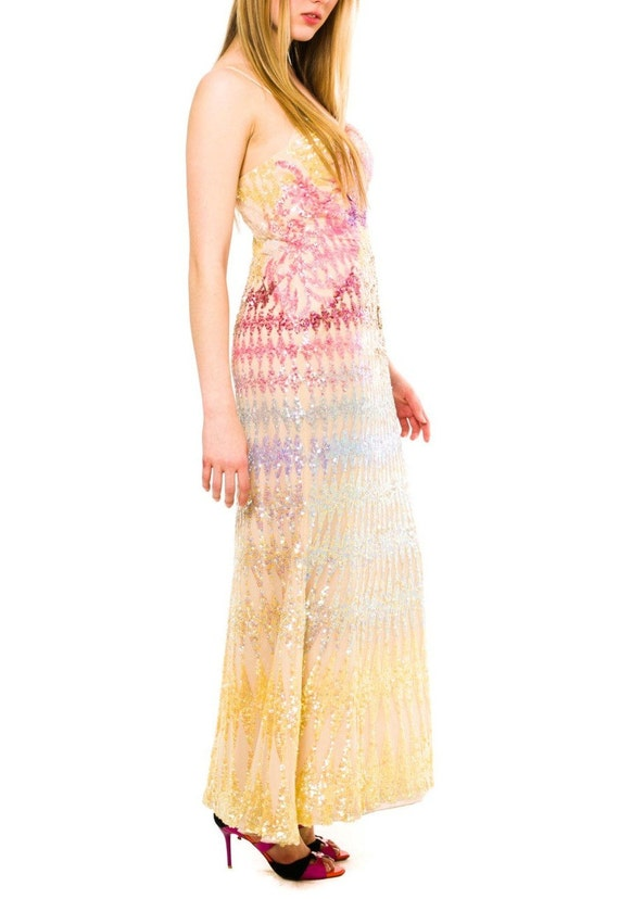1970S Rainbow Sequined Silk Chiffon Tie-Dye Look G