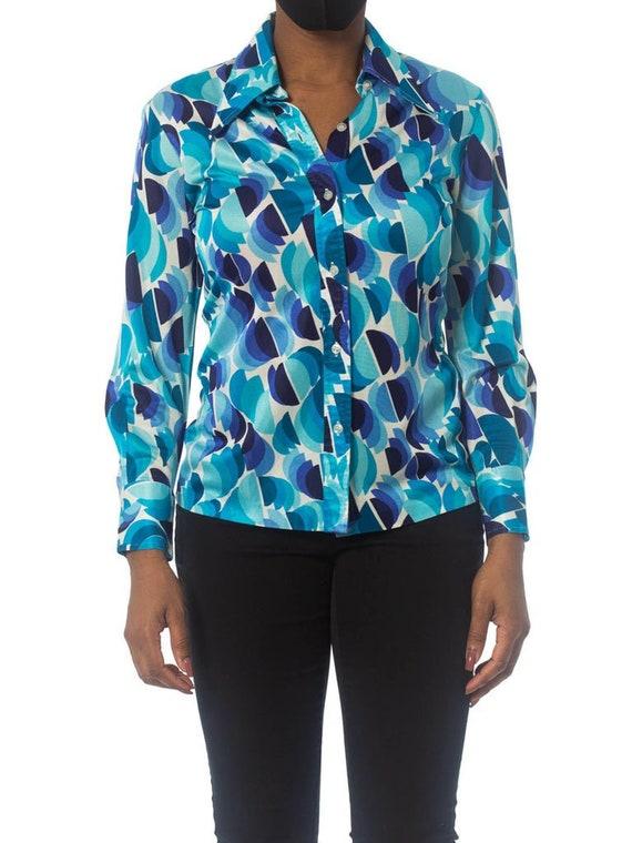 1970S Blue Geometric Nylon Silky Jersey Shirt