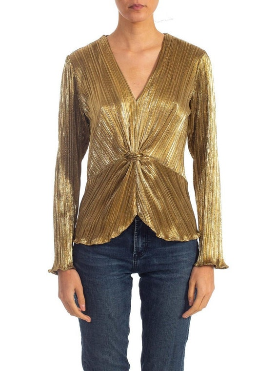 1980s Gold Metallic Poly Blend Blouse