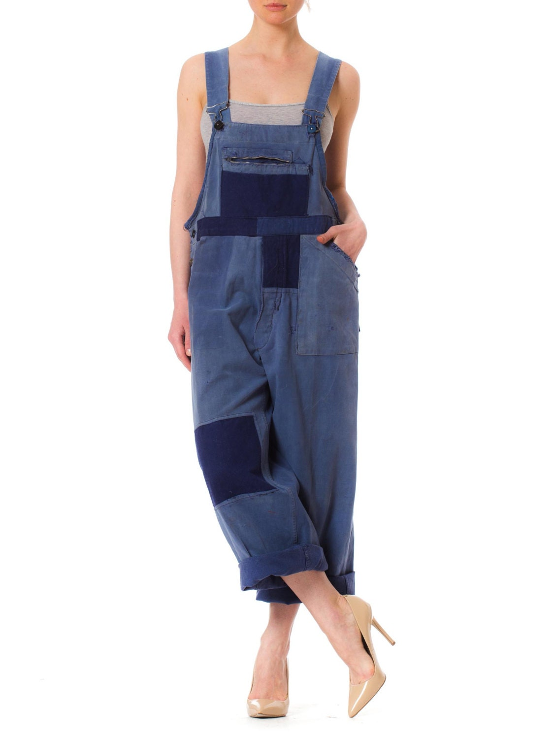New 1930s Mens Fashion Ties 1930S Blue Cotton Mens Heavily Distressed Patchwork French Workwear Overalls $70.00 AT vintagedancer.com