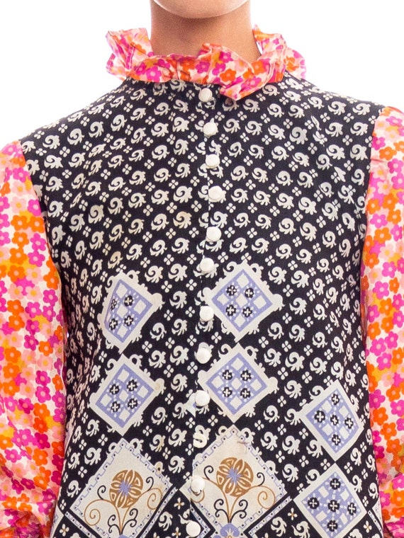 1960S Multicolor Patchwork Boho Printed Polyester… - image 5