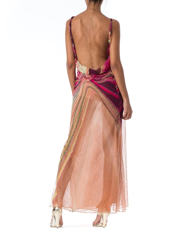 1990s Gianni Versace Couture Backless Sheer Chiff… - image 4