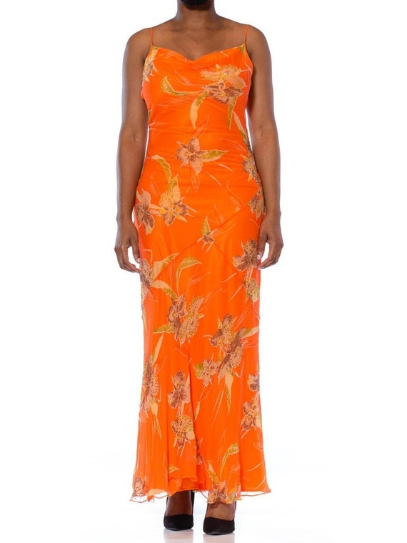 1990S  Orange Tropical Floral Silk Chiffon Bias Cu