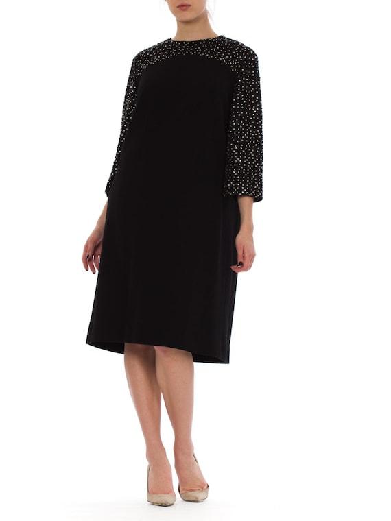 1960S Black Wool Knit Crystal Beaded Sleeve Mod Co