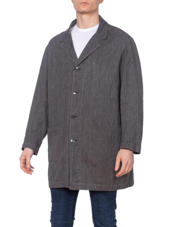 Men's 1940s Grey Cotton Workwear Jacket